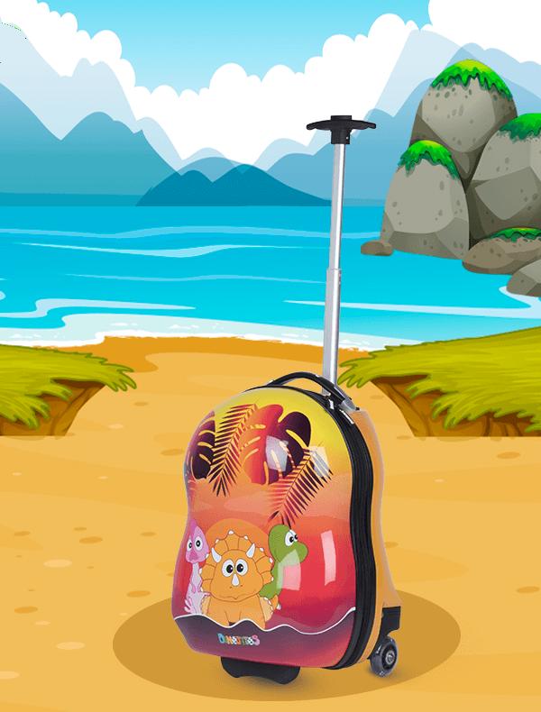 Trolley Dinojitos con asa telescópica y ruedas de silicona con luces