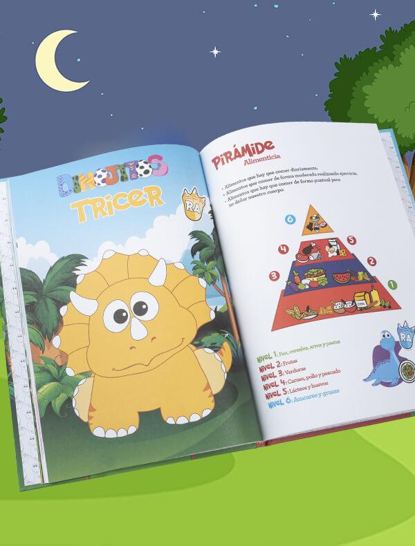 Páginas del libro dinojito, Trícer y la pirámide de la alimentación