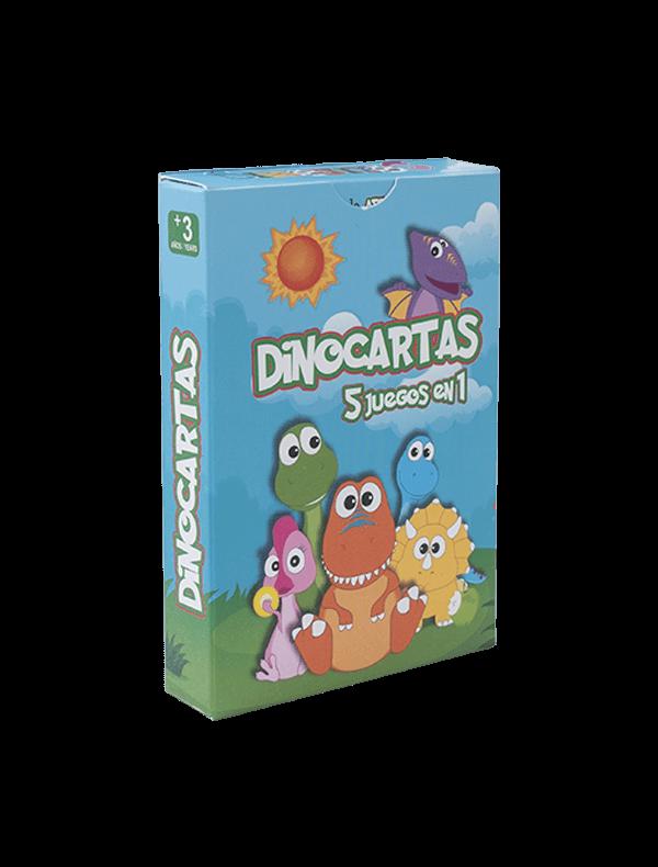 packaging dinocartas juegos 5 en 1.